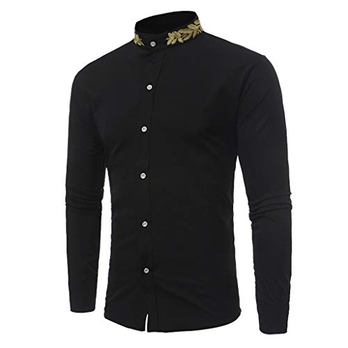 Sunhusing Men's Embroidered Print Stand Collar Long Sleeve Top Tee Solid Color Button Buckle Shirt
