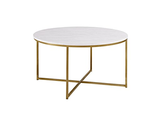 "WE Furniture 36"" Short Round Coffee Table For Living Room with X Base Faux Marble Top Gold Base"