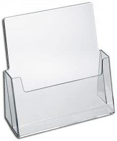 SourceOne Premium Brochure Holder for 8.5 Booklet with Business Card Container Clear Acrylic Countertop Organizer