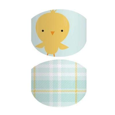 Buttercup Stroll Jr - Jamberry Nail Wraps - Juniors/Child Size - Full Sheet - Baby Chick on Light Blue & Yellow Plaid - Easter & Spring 2019