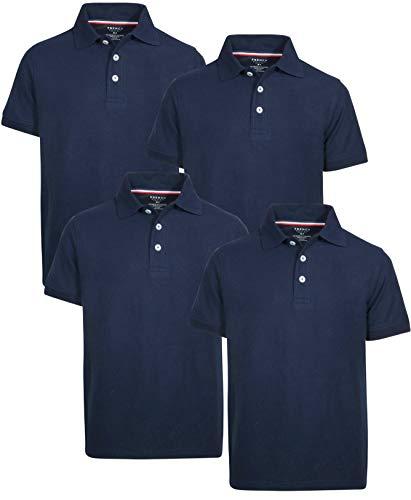 French Toast Boys Short Sleeve Uniform Polo Shirt - 4 Pack, Navy, Size Medium (8)