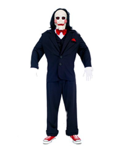 Jigsaw Puppet Costumes (Paper Magic Jigsaw Puppet Deluxe Costume, Black/White, Medium)