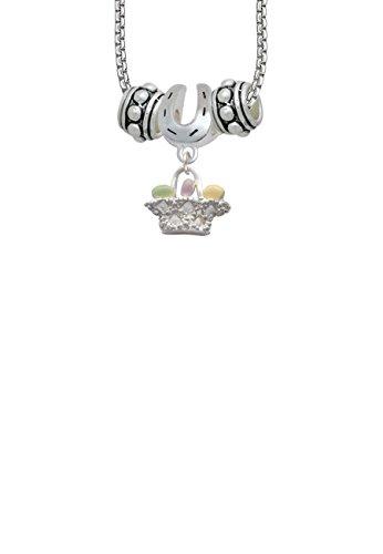 Easter Egg Basket Horseshoe 3 Bead Necklace