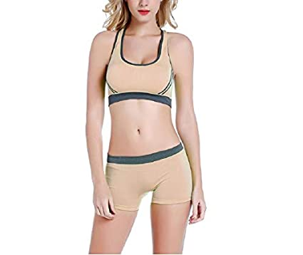 10dee353c0a2 GLAMORAS Women s Padded Cross Back Sports Bra with Removable Soft Cups and  Seamless Boyshort Panty Set