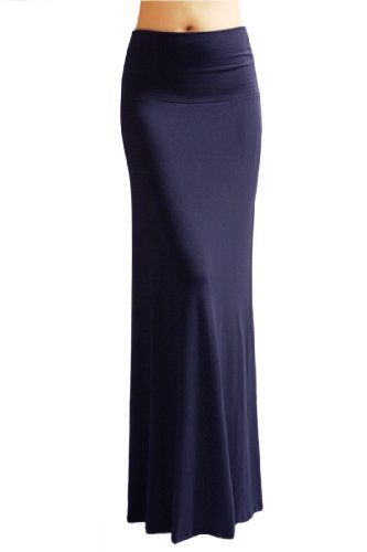 Azules Women'S Rayon Span Maxi Skirt - Solid large Navy