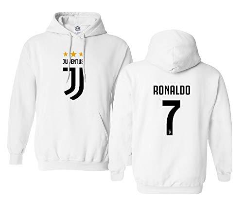 SMARTZONE Soccer Shirt #7 Cristiano Ronaldo Juve CR7 Men's Hooded Sweatshirt (White, Large) ()