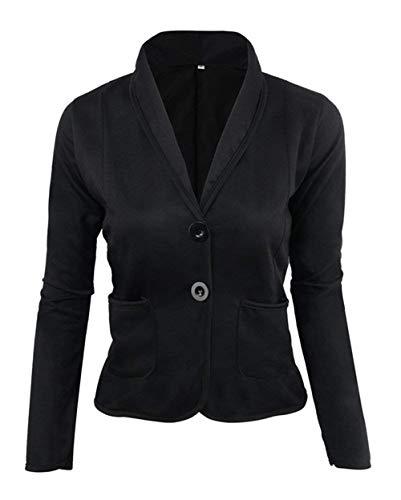 Moda Cappotto Da Eleganti Button Casuale Business Corto Donna Giacca Lunga Manica Tailleur Bavero Ufficio Plus Classiche Schwarz Camicia Con Blazer Women Prodotto Sottile Giovane pqf54Uw