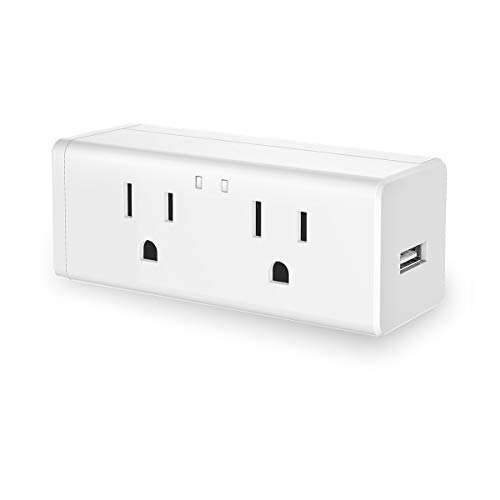 JandCase Smart Mini Plug Compatible with Alexa Google Assistant, WiFi Plug Outlet with Night Light, 2 Sockets 1 USB Ports, Wireless Timer Socket, Remote Control, No Hub Required, 1 Pack