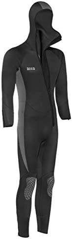 Men's and Women's 5MM Neoprene Hooded Wetsuit Full Body Warm and Cold Padded Knee Pads Front Zipper Su