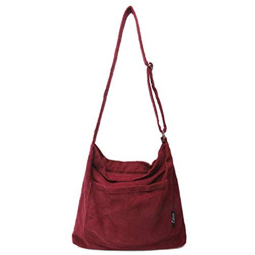 Lamdoo Women Ladies Crossbody Shoulder Bag Tote Messenger Corduroy Satchel Handbag Wine Red