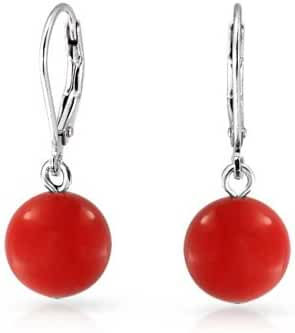 Bling Jewelry Sterling Silver Leverback Dyed Red Coral Dangle Drop Earrings