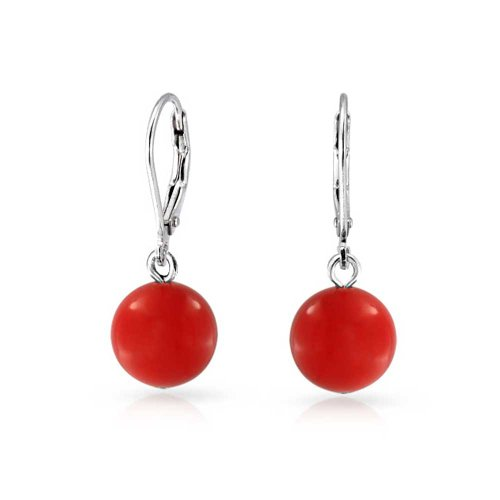 Simple Dyed Red Natural Coral Ball Round Drop Dangle Earrings For Women 925 Sterling Silver