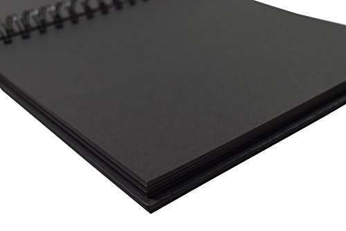 Black Guest Book, Photo Booth Album, Scrapbook, Blank Square Spiral Bound Cardboard Hardcover, 40 Sheets (10 Inches) by StrawCoco (Image #2)