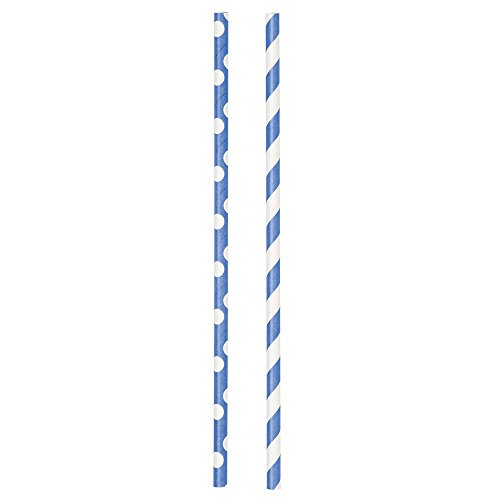 Electric Polka Striped Paper Straws