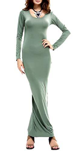 donne Colore Del Da Coolred manicotto Dalla Partito Verde Lungo Ballo Matita Del Di Vestito Di Solido annzwCdq