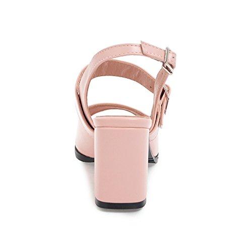 Peep Blockabsatz Pink Damen Schuhe Slingback Sommer Ye Schnalle Sandalen Sandaletten Toe Mit XqC5C