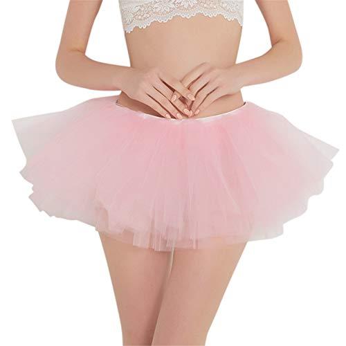 (Thenxin Women's Basic Layered Tulle Tutu Skirt Elastic Waist Dance Ballet Bubble Skirt (Pink,Free Size))