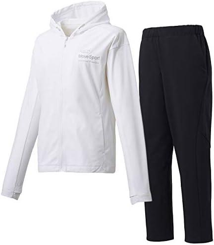 デサント(DESCENTE) レディース サンスクリーン フルジップシャツパーカー&ロングパンツ上下セット(ホワイト/ブラック) DMWOJC20-WH-DMWOJD83-BK