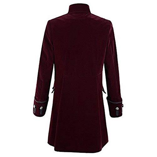 Da Girocollo Gothic Casual Moderna Cappotto Tuxedo Uniforme Lunga Uomo Winered Giacca Steampunk Haidean 65wnqf5X