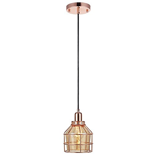 Versanora VN-L00030 Bellezza Metal Mini Pendant Lamp with Cage, Rose Gold (Glass Rose Pendant Light)