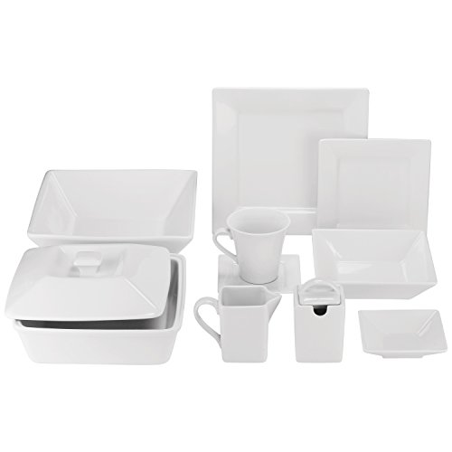 10 Strawberry Street Square 42 Piece Dinnerware Set, Cream White