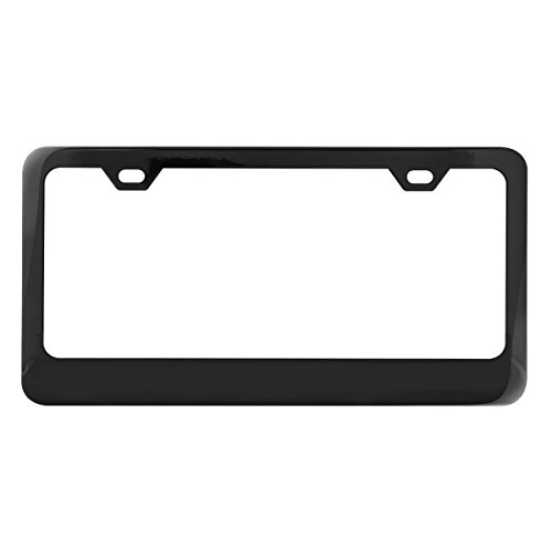 Grand General 60438 Black Semi-Gloss Powder Coated License Plate Frame with 2 Holes (Powder Coated Semi Gloss)