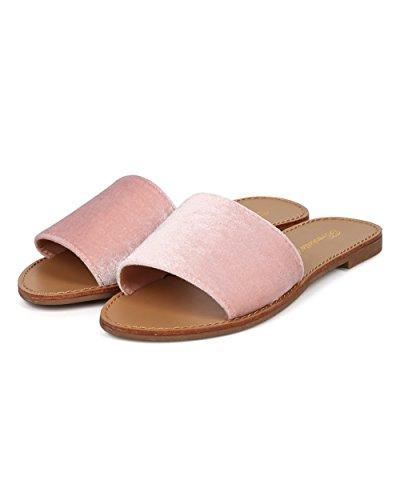 Women Lounge by Velvet Breckelles GG15 Everyday Toe Slide Casual Slipper Open Blush aBFwdq