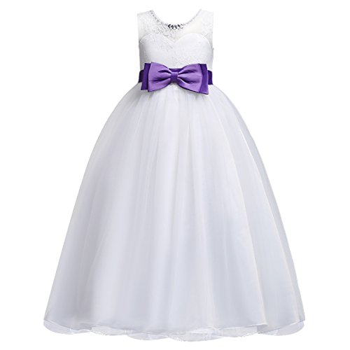 IWEMEK Girld Sleeveless Lace Flower Long Dress Pageant Wedding Party First Communion Kids Prom Ball Gown 5-14 Years Old White + Purple 7-8 Years -