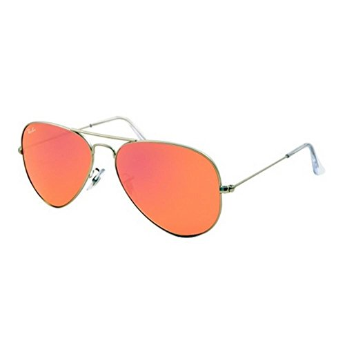 RAY BAN 3025 AVIATOR RB3025 019/Z2 58MM SILVER FRAME BROWN/PINK MIRROR NEW - 2014 Ban Sunglasses New Ray