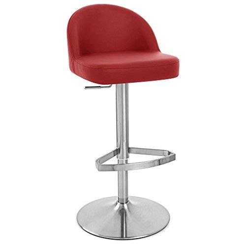Zuri Furniture Red Mimi Adjustable Height Swivel Armless Bar Stool