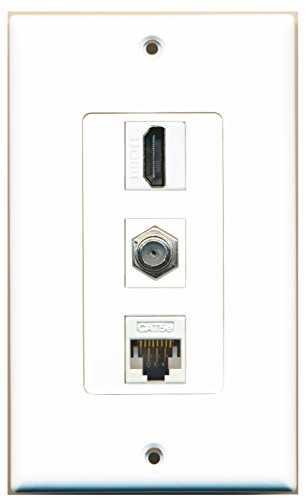 Cat5 Wall Outlet (RiteAV - 1 Port HDMI and 1 Port Coax Cable TV- F-Type Cat5e Ethernet Decorative Wall Plate - White)