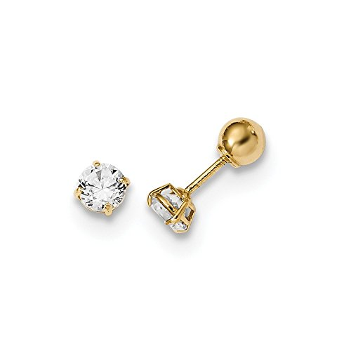 14k Yellow Gold Reversible Ball Cubic Zirconia Cz Earrings Stud Fine Jewelry Gifts For Women For Her