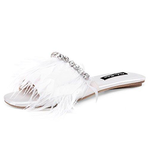 (onlymaker Women's Slip-on Slide Sandal Open Toe Faux Marabou Feather Pompom Mule with Rhinestone Flat Fuzzy Slippers White 7 M US)
