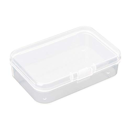 AKOAK Clear Polypropylene Rectangle Mini Storage Containers Box with Hinged Lid,3.54