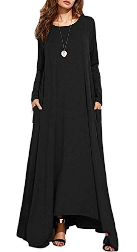 A Da Maxi Waist Donna Abiti Casual Maniche Dress Dressy Lunghe Nero Empire Starsace dqXEzwE
