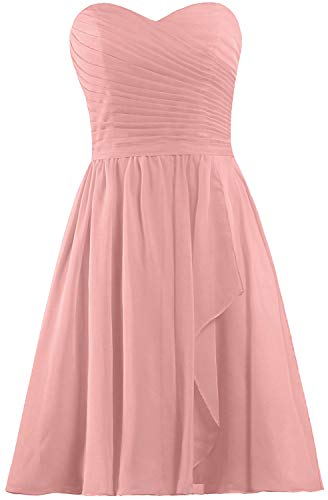 ANTS Women's Sweetheart Short Bridesmaid Dresses Chiffon Wedding Party Dress Size 10 US Blush