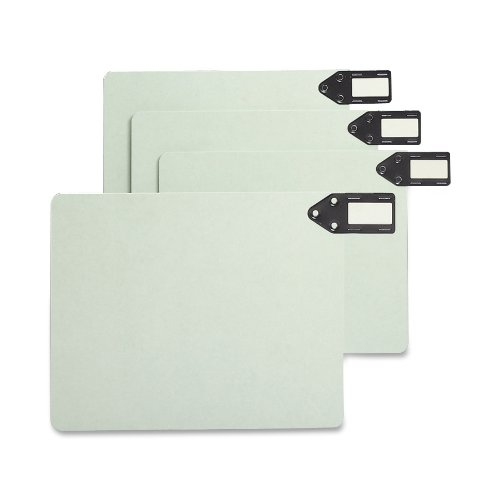 Smead 100% Recycled End Tab Pressboard File Guides, Horizontal Metal Tab, Extra Wide Letter Size, Gray/Green, 50 per Box (61757) ()