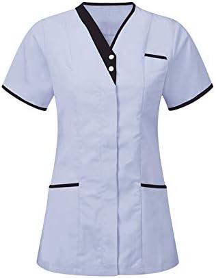 Workwear World Ladies Contrast Trimmed V Neck Healthcare Medical Dentist Vets Work Wear Tunic