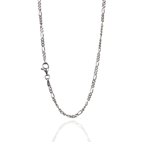 925 Sterling Silver 2.20 mm Diamond-Cut Figaro Chain Necklace with Pear Shape Clasp-Rhodium Finish