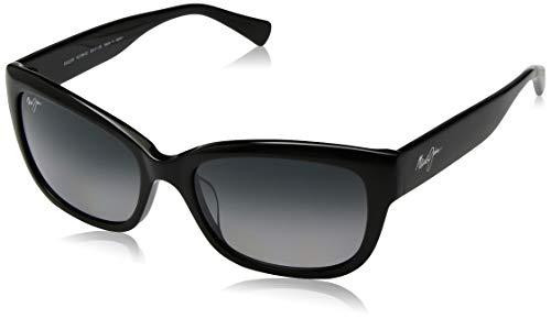 (Maui Jim Plumeria GS768-02 | Polarized Gloss Black cateye Frame Sunglasses, Neutral Grey Lenses, with Patented PolarizedPlus2 Lens Technology)