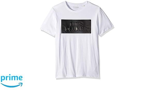 2cf8a8d09c7fe0 GUESS Men's Short Sleeve Embossed Stripe Logo T-Shirt   Amazon.com