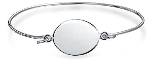 - Geometric Minimalist Engravable Monogram Round Disc Bangle Bracelet For Women For Teen 925 Sterling Silver