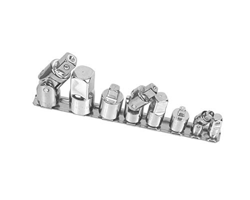 SK 4518 8 Piece 1/4-Inch, 3/8-Inch, and 1/2-Inch Drive Chrome Universal Adapter Set by SK Hand Tool