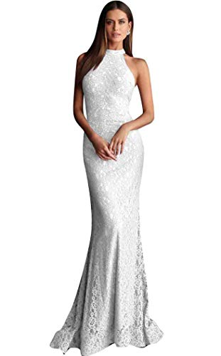 Jovani - 63335 Embellished Lace High Halter Trumpet Dress White