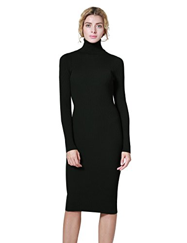 Womens Black Sweater Dress - ninovino Women's Turtleneck Ribbed Long Sleeve Bodycon Pullover Sweater Dress Black-L