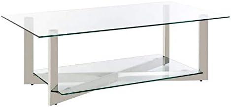 Générique - Mesa Baja de Cristal 130 cm y Patas Acero Plateado ...