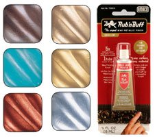 Rub N Buff Wax Metallic Finishes 6 Color Sampler Set - Buff Plastic