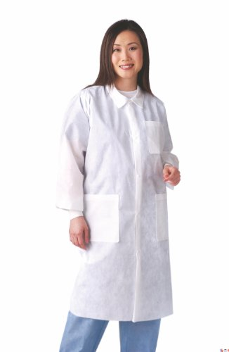 Medline NONSW100M Multi-Layer Lab Coat with Knit Cuff and Traditional Collar, Medium, White (Pack of 30) by Medline