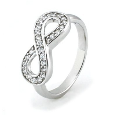 Metal Factory Sz 9 Sterling Silver Cubic Zirconia Infinity Symbol CZ Wedding Band Ring