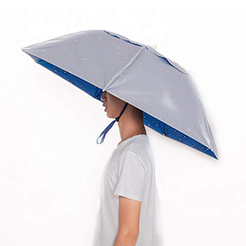 KINGSOO Umbrella Hat,Hand Free Hat for Adult with Free Tighten Clip,Head Wear for Fishing Gardening Outdoor Hiking (Silver) ()